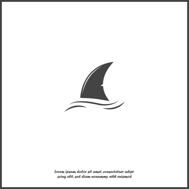Shark fin vector icon. Fin in the water on white isolated background. Shark fin vector icon. Fin in the water on white isolated background. Layers grouped for easy editing illustration. For your design. animal fin stock illustrations