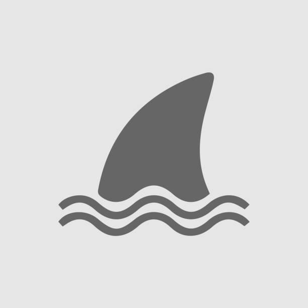 Shark fin vector icon Shark fin vector icon. Shark attack danger symbol. Simple outline pictogram. animal fin stock illustrations