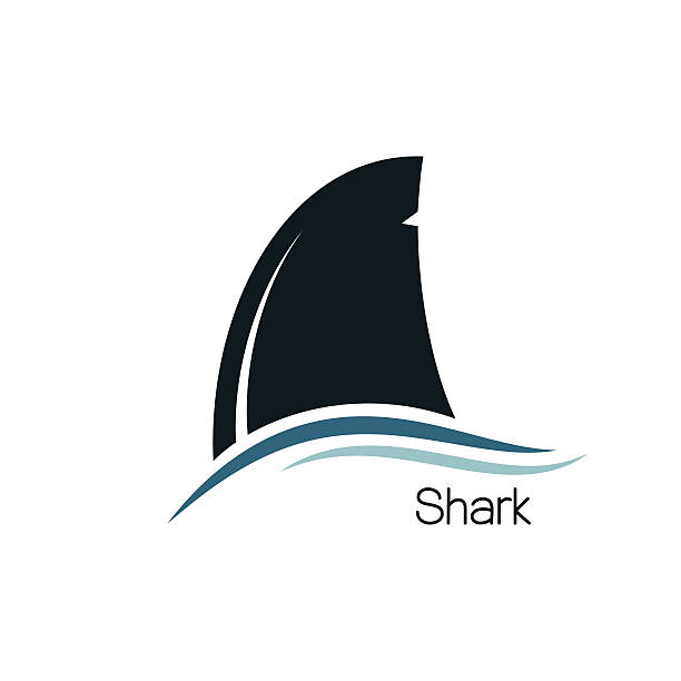 Shark fin Shark dorsal fin icon animal fin stock illustrations