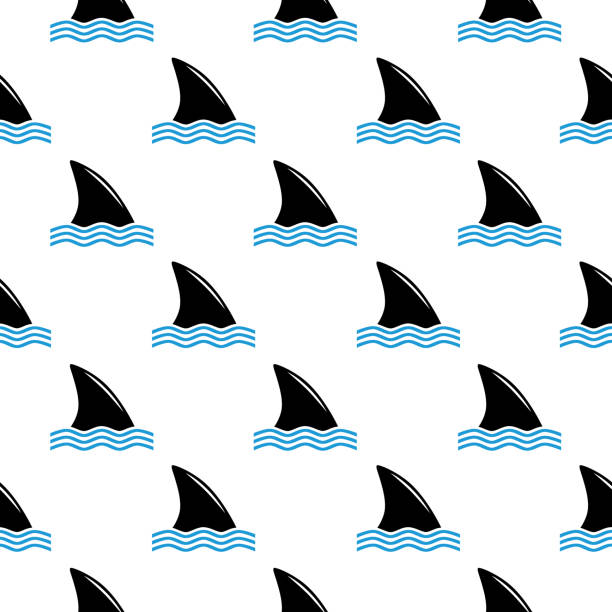 Shark Fins Seamless Pattern Vector seamless pattern of shark fins anwater on a white background. animal fin stock illustrations