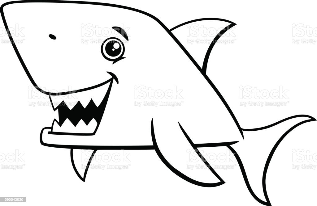 Shark Fish Coloring Page Stock Vector Art More Images Of Animal