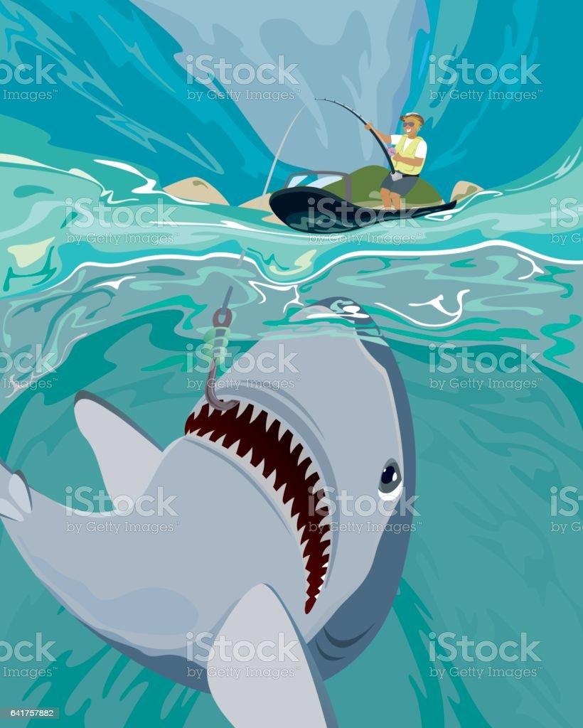 Shark fishing vector illustration vector art illustration