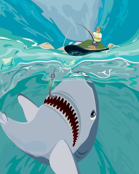 shark fishing vector illustration - haifischköder stock-grafiken, -clipart, -cartoons und -symbole