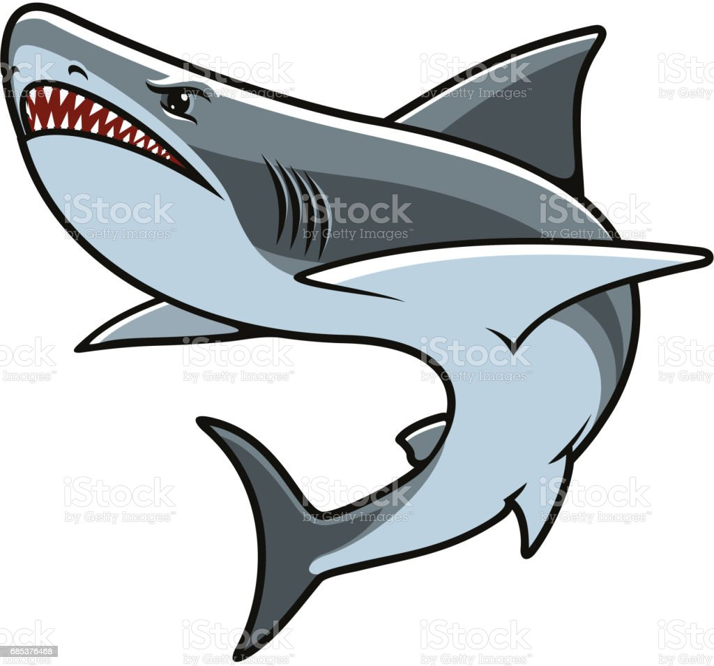 Shark for mascot, tattoo or t-shirt print design vector art illustration