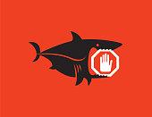 vector illustration of shark holding stop sign