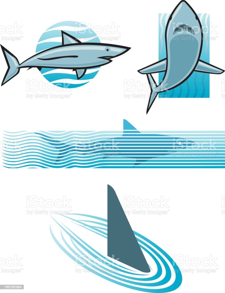 Shark icon set A variety of vector icons depicting sharks. Aerodynamic stock vector