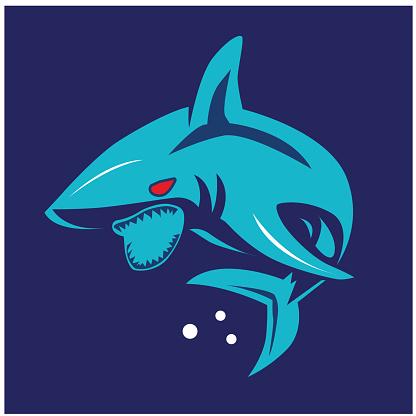 shark illustration. shark logo ,art,  shark line art colours vector. graphic vector.