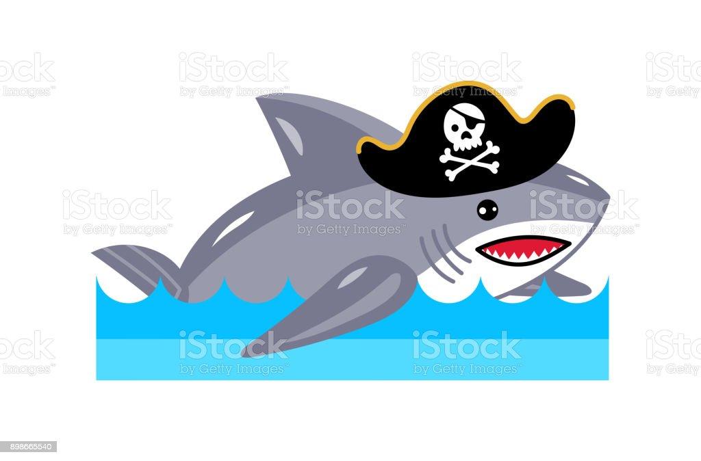 Korsan şapkası Icon Köpekbalığı Stok Vektör Sanatı Amblemnin Daha