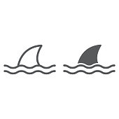 Vector drawn shark, isolated on white background.