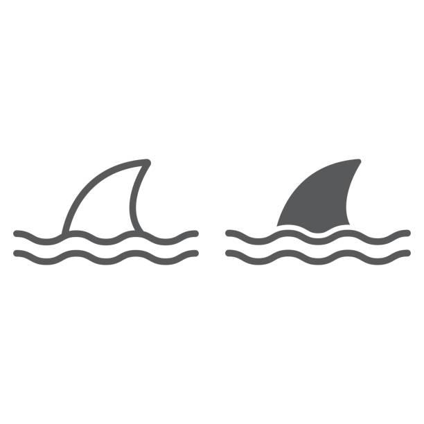 상어 라인과 문양 아이콘, 바다와 육식 동물, 위험한 물고기 기호 벡터 그래픽, 흰색 배경에 선형 아이콘, eps 10. - 오리발 stock illustrations