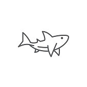 Shark line editable pixel perfect icon isolated on white background. Outline sea and ocean wildlife swimming predator animal simple silhouette, vector illustration.