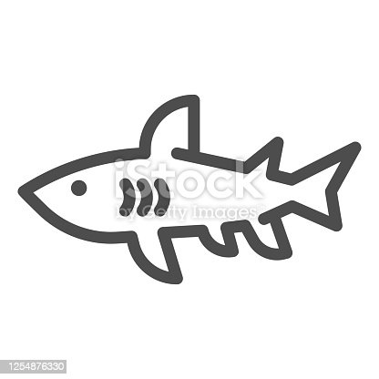 istock Shark line icon, marine concept, danger predatory fish sign on white background, Shark silhouette icon in outline style for mobile concept and web design. Vector graphics. 1254876330