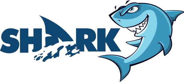 Shark logo mascot Cartoon Shark logo and mascot isolated on white background - Vector animal fin stock illustrations