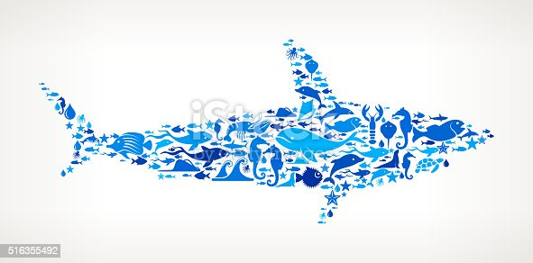 istock Shark Ocean and Marine Life Blue Icon Pattern 516355492