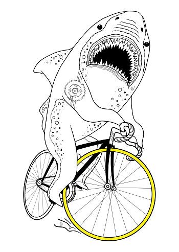 Shark on a bike