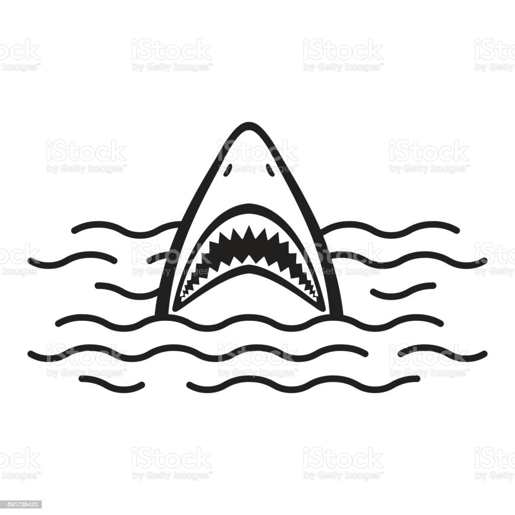 Shark open mouth Ocean Sea vector illustration векторная иллюстрация