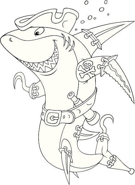 hai pirate - haifischköder stock-grafiken, -clipart, -cartoons und -symbole