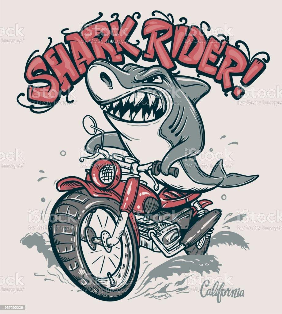 Shark Rider On Motorcycle Vector Tshirt Design Stock