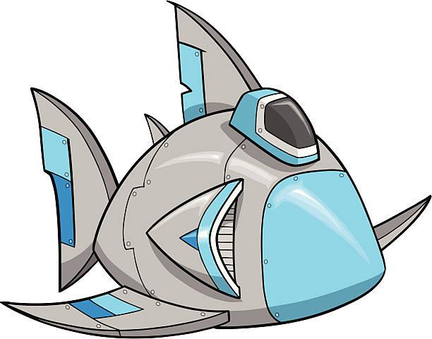 Shark Robot Spaceship vector art illustration
