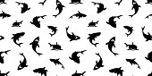 shark seamless pattern dolphin whale vector ocean wave island wallpaper background