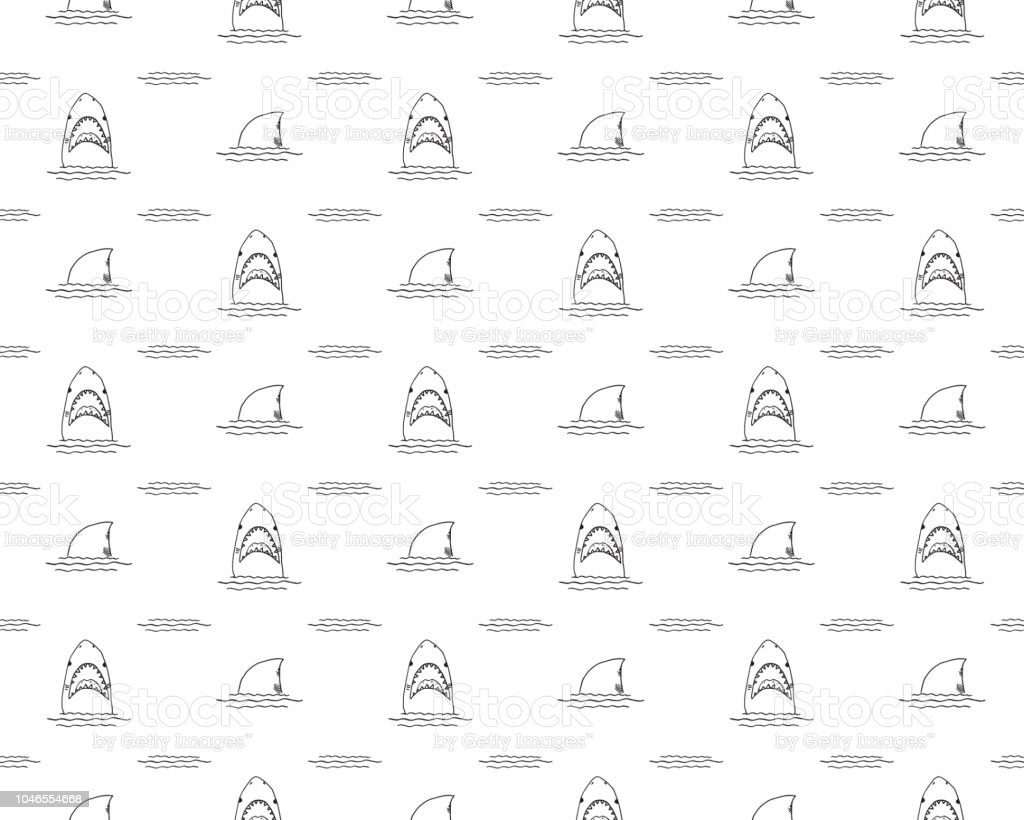 Shark seamless pattern, Hand drawn sketched doodle shark, vector illustration vector art illustration