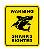 Shark Sighted Warning Sign - vector shark silhouette with text on yellow plate
