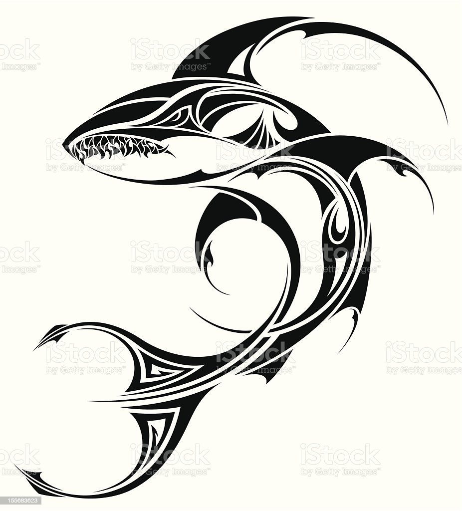00ba7320a Shark tattoo tribal design royalty-free shark tattoo tribal design stock  vector art &