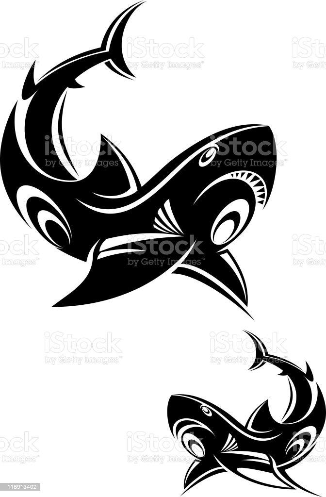 Shark tattoo royalty-free stock vector art