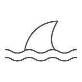 istock Shark thin line icon, ocean and predator, dangerous fish sign vector graphics, a linear icon on a white background, eps 10. 1223840428