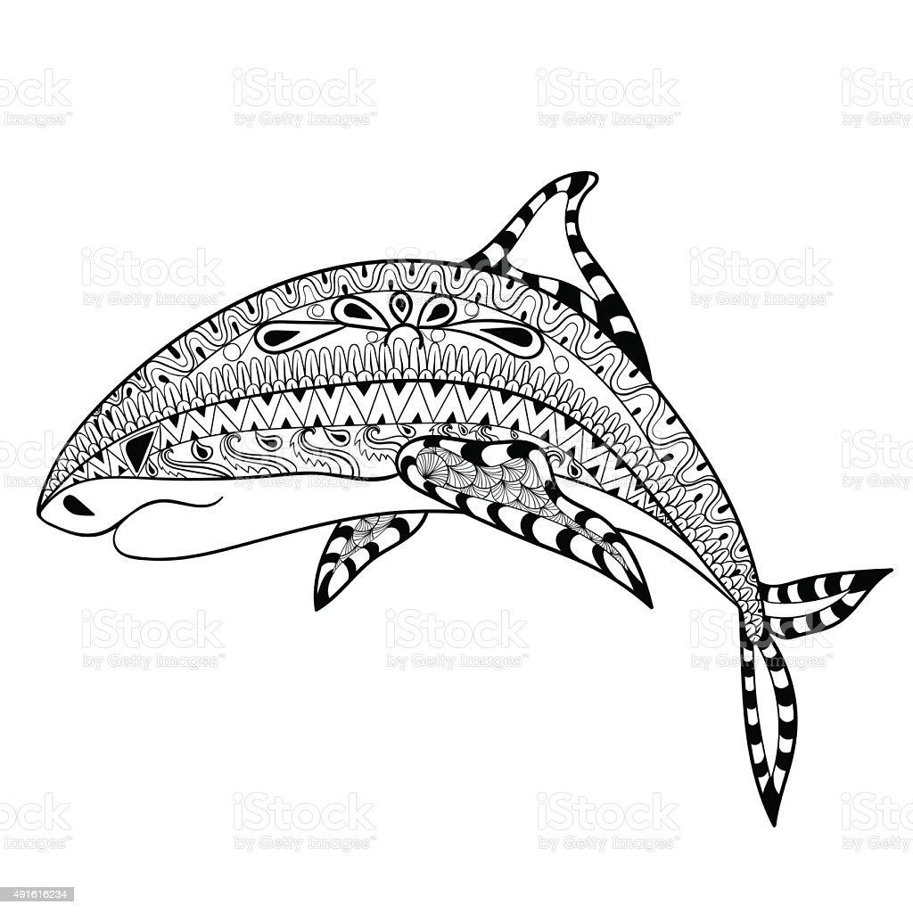 Zentangle акула Totem против стрессраскраска для взрослых