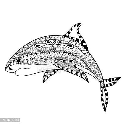 Ilustración de Tiburón Zentangle Totem Para Adultos Para Colorear ...
