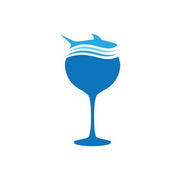 bildbanksillustrationer, clip art samt tecknat material och ikoner med haj - vin sommar fest
