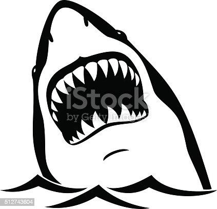 Black shark isolated on white background
