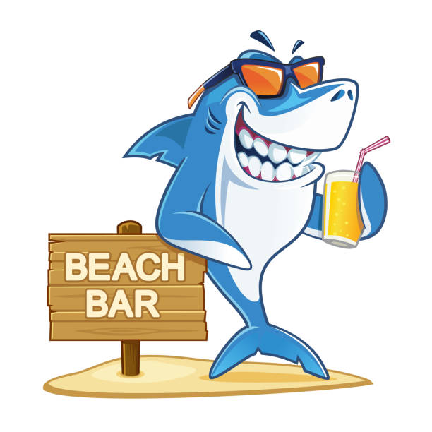 Shark with sunglasses and glass of juice Smiling shark on the beach bar with sunglasses and glass of juice great white shark stock illustrations