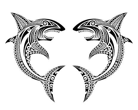 Sharks attack fish illustration Maori polynesian tattoo style.