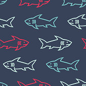 Seamless pattern with shark line symbols, design elements. Can be used for invitations, greeting cards, scrapbooking, textile print, gift wrap, manufacturing. Vector background.