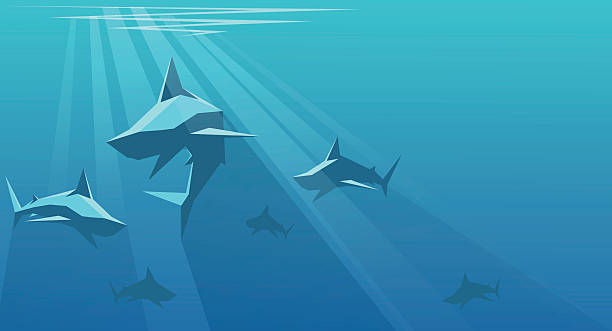 Sharks vector illustration of shark swarms on the depth of the ocean swarm of insects stock illustrations