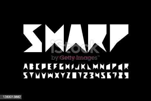 Sharp style font, alphabet letters and numbers vector illustration