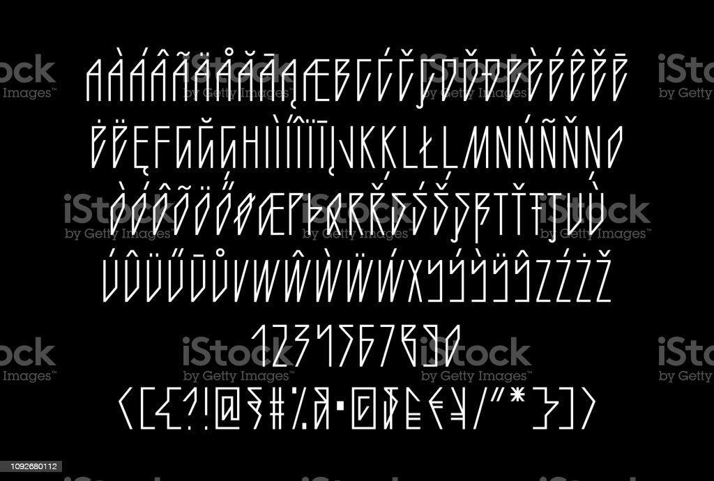 Sharp Gothic Neon Linear Tube Font Uppercase And Lowercase