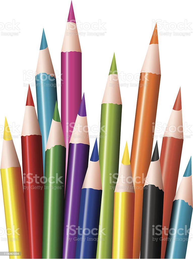 Sharp, multicolored colored pencils royalty-free stock vector art