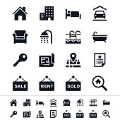 Sharp vector real estate icons in black and white