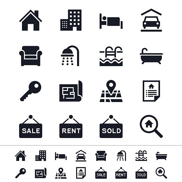 Sharp vector real estate icons in black and white Simple vector icons. Clear and sharp. Easy to resize. No transparency effect. bedroom stock illustrations