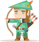 Sharpshooter archer bow arrow elf fantasy medieval RPG action game layered animation ready character vector illustration