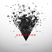 Shatter and destruction dark triangle effect. Abstract cloud of pieces and fragments after explosion. Vector illustration isolated on gray background