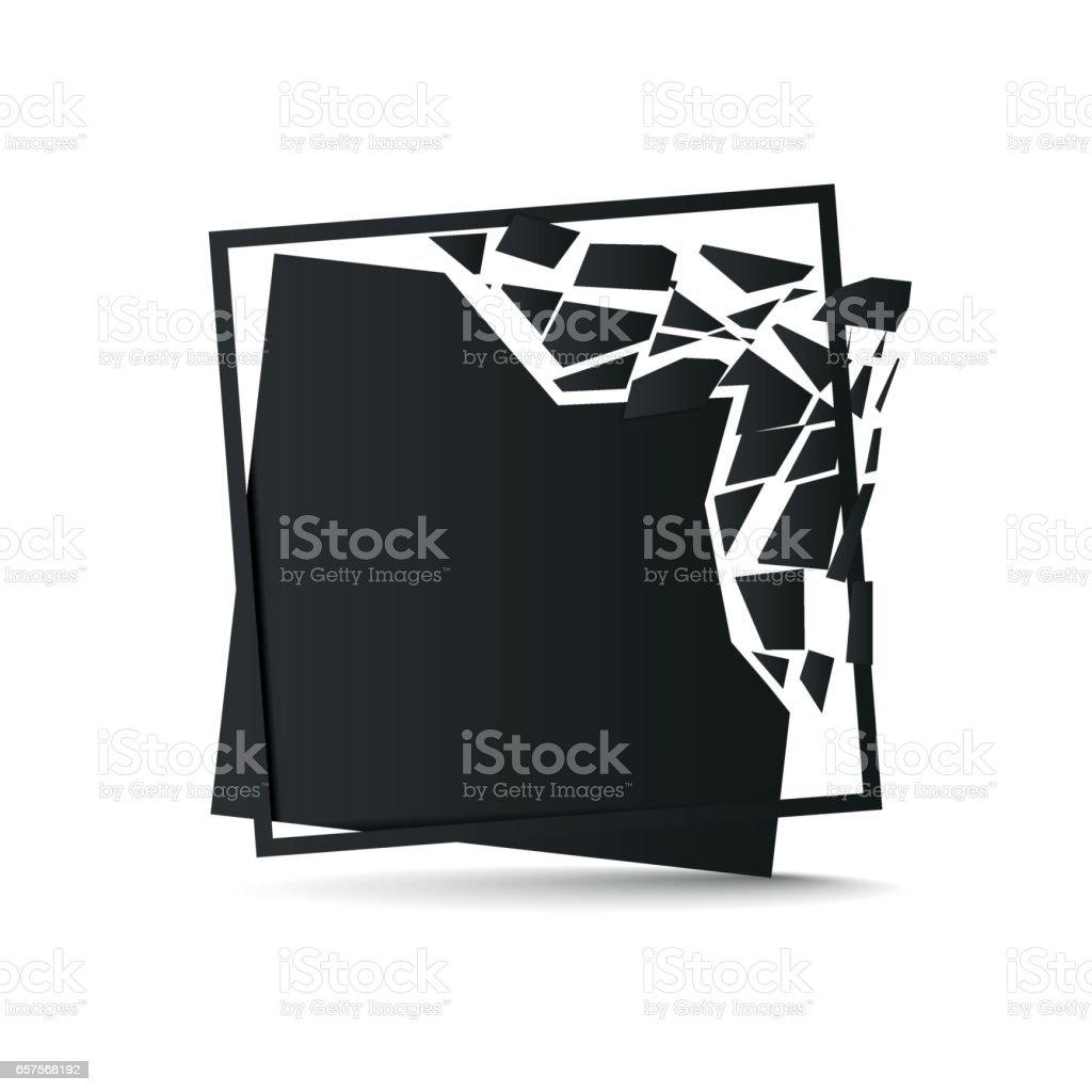 Shattered black square background vector art illustration