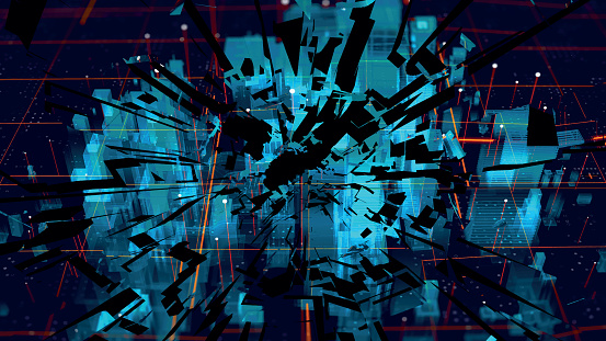 Shattered holographic city map. Shattered American city. Blue neon silhouette city. Digital cityscape background. Business technology concept. Vector stock illustration.