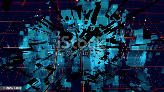 istock Shattered holographic city map. Shattered American city. Blue neon silhouette city. Digital cityscape background. Business technology concept. Vector stock illustration. 1250571469