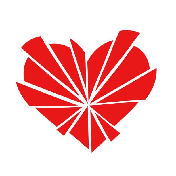 stockillustraties, clipart, cartoons en iconen met verbrijzelde rode liefde hart pictogram in 15 stuks - liefdesverdriet