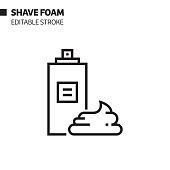 Shave Foam Line Icon, Outline Vector Symbol Illustration. Pixel Perfect, Editable Stroke.