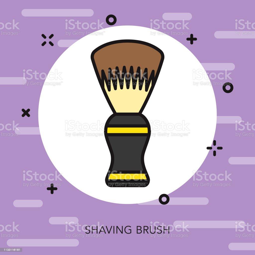 Shaving Brush Hairdresser Thin Line Icon vector art illustration